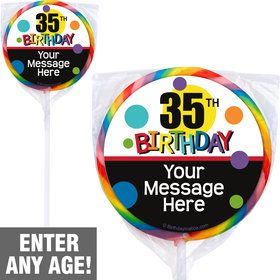 Rainbow Birthday Add-Any-Age Personalized Lollipops (12 Pack)