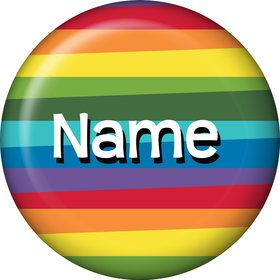 Rainbow Birthday Add-Any-Age Personalized Mini Button (Each)