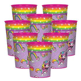 Rainbow Butterfly Unicorn Kitty 16oz Plastic Favor Cup (8)