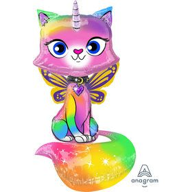 "Rainbow Butterfly Unicorn Kitty 44"" Airwalker Balloon (1)"
