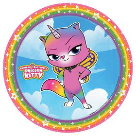 "Rainbow Butterfly Unicorn Kitty 7"" Plates (8)"
