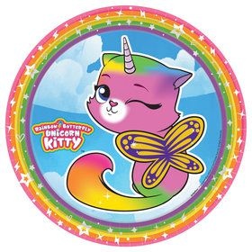 "Rainbow Butterfly Unicorn Kitty 9"" Plates (8)"
