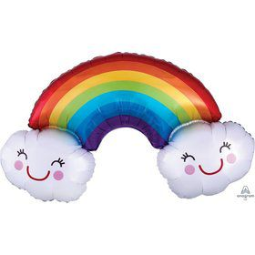 Rainbow & Clouds Shaped 37 Foil Balloon