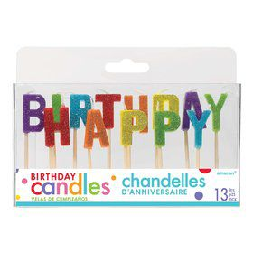 Rainbow Glitter Happy Birthday Candles