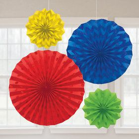 Rainbow Glitter Paper Fan Decorations (4 Pack)