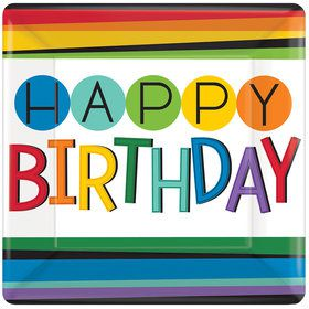 "Rainbow Happy Birthday 10"" Dinner Plates (8 Count)"