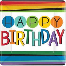 "Rainbow Happy Birthday 7"" Cake Plates (8 Count)"