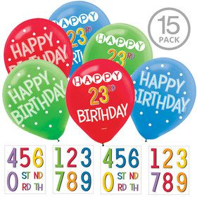 Rainbow Happy Birthday Add-Any-Age Latex Balloons (15 Count)