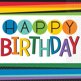 Rainbow Happy Birthday Beverage Napkins (16 Count)