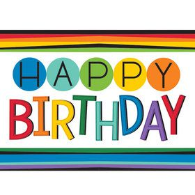 Rainbow Happy Birthday Plastic Table Cover (Each)