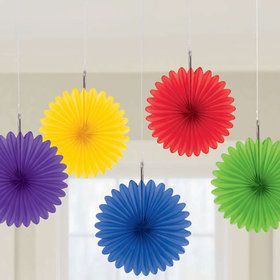 Rainbow Mini Hanging Fan Decorations