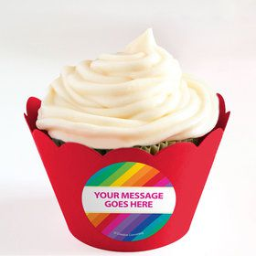 Rainbow Personalized Cupcake Wrappers (Set of 24)