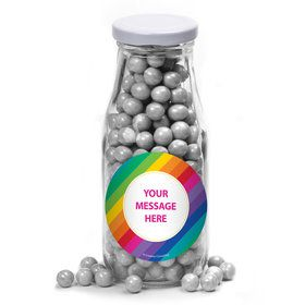 Rainbow Personalized Glass Milk Bottles (12 Count)