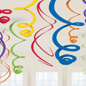 Rainbow Plastic Swirl Decorations (12)
