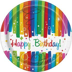 "Rainbow Ribbons Birthday 7"" Plates (8)"
