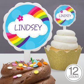 Rainbow Wishes Personalized Cupcake Picks (12 Count)