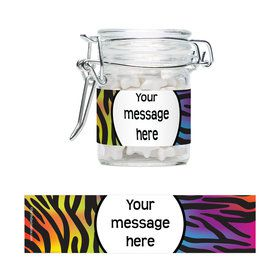 Rainbow Zebra Personalized Swing Top Apothecary Jars (12 ct)