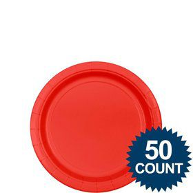 "Red 7"" Paper Plate, 50 ct."
