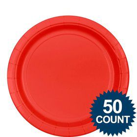 "Red 9"" Paper Plate, 50 ct."