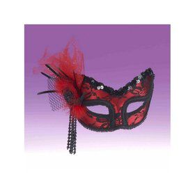 Red And Black Lace Mask