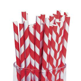Red and White Striped Paper Straws (48)