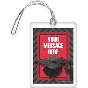Red Caps Off Graduation Personalized Bag Tag (Each)