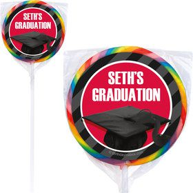 Red Caps Off Graduation Personalized Lollipops (12 Pack)