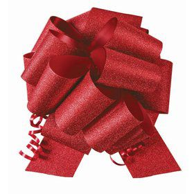 "Red Diamond Glitter 8"" Pull Bow (10 Count)"