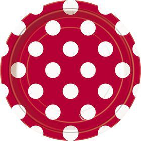 "Red Dots 7"" Cake Plates (8 Pack)"