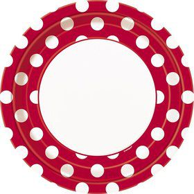 "Red Dots 9"" Luncheon Plates (8 Pack)"