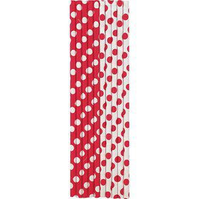 Red Dots Paper Straws (10 Count)
