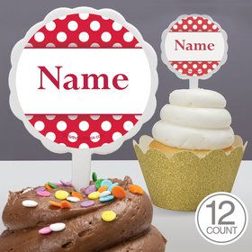 Red Dots Personalized Cupcake Picks (12 Count)