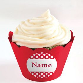 Red Dots Personalized Cupcake Wrappers (Set of 24)