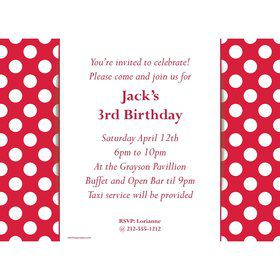 Red Dots Personalized Invitation (Each)
