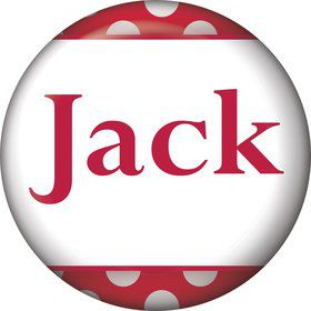 Red Dots Personalized Mini Button (Each)