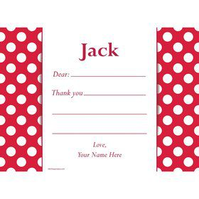 Red Dots Personalized Thank You Note (Each)