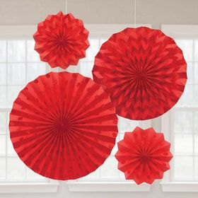 Red Glitter Paper Fan Decorations (4 Pack)