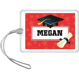 Red Grad Personalized Bag Tag (Each)