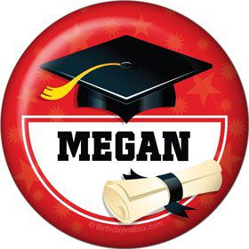 Red Grad Personalized Button (Each)