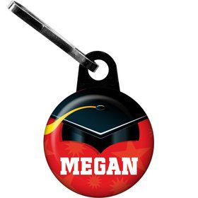 Red Grad Personalized Zipper Pull (Each)