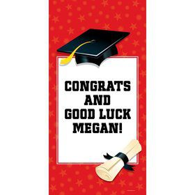 "Red Graduation Personalized Giant Banner 30x60"" (Each)"