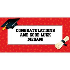 "Red Graduation Personalized Giant Banner 60x30"" (Each)"