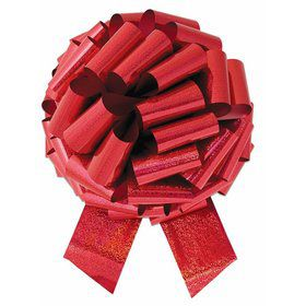 "Red Holographic 14"" Pull Bow (10 Count)"