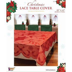 "Red Lace Fabric Tablecover 82"" x 62"""