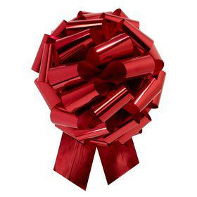 "Red Metallic 14"" Pull Bow (10 Count)"