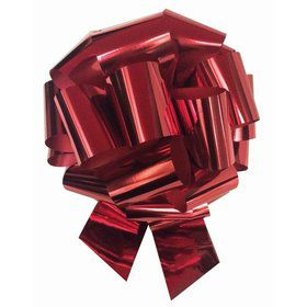 "Red Metallic 8"" Pull Bow (10 Count)"