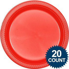 "Red Plastic Plates, 10"" (20 count)"