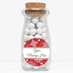 """Red Snowflake Personalized 4"""" Glass Milk Jars (Set of 12)"""