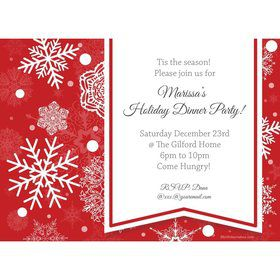 Red Snowflake Personalized Invitation (Each)