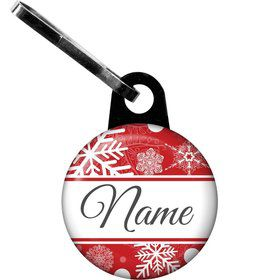 Red Snowflake Personalized Zipper Pull (Each)